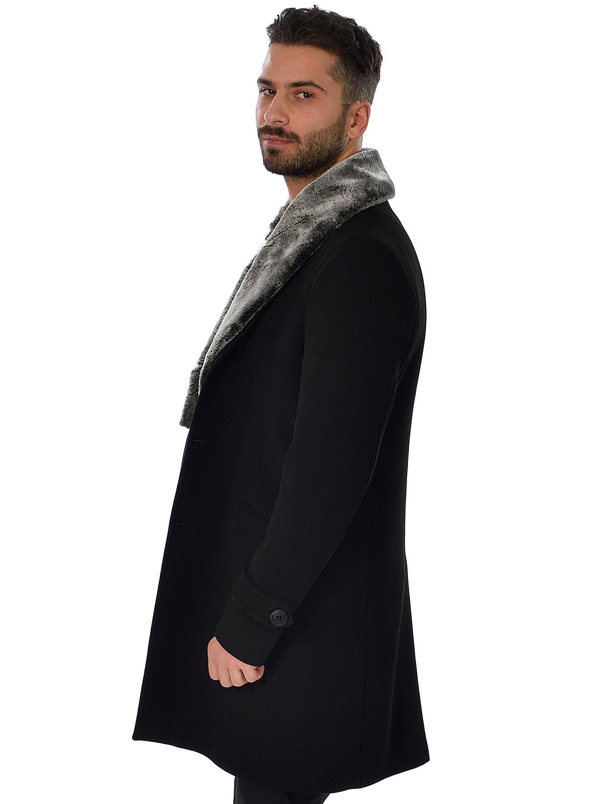 schwarzer langer mantel mit pelz descy official. Black Bedroom Furniture Sets. Home Design Ideas