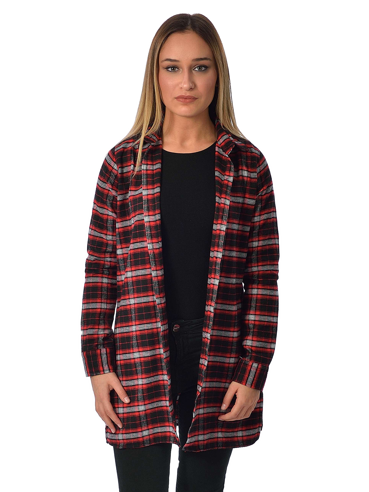 Black pants red shirt women with brilliant picture Womens red tartan plaid shirt