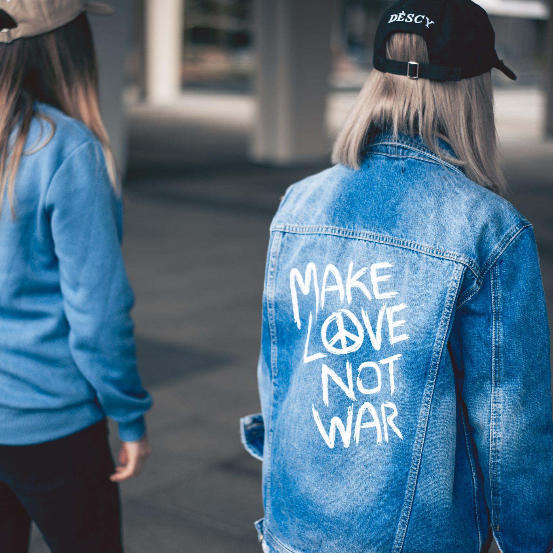 Women Make Love Not War Denim Jacket