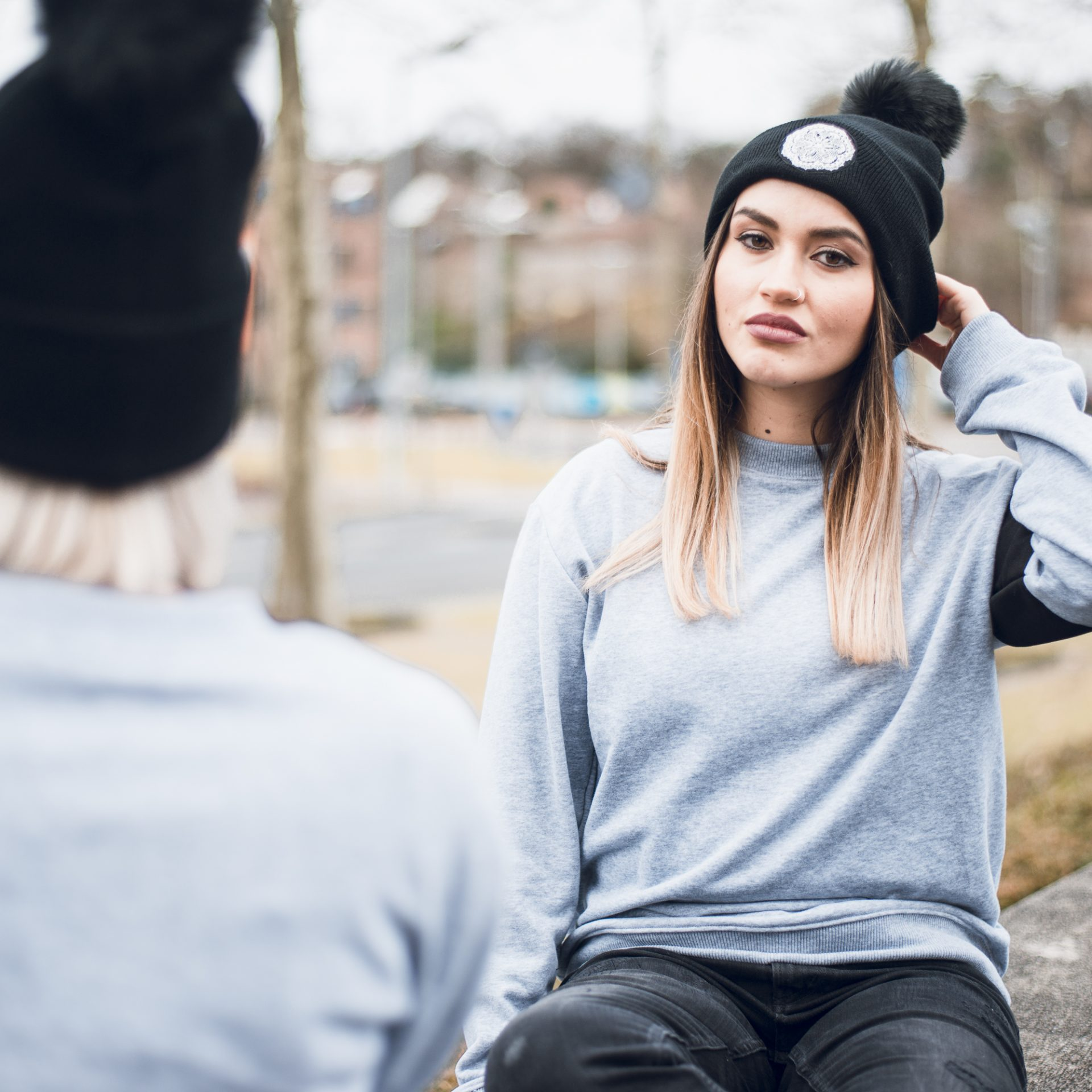 Black DESCY Beanie with Pompom