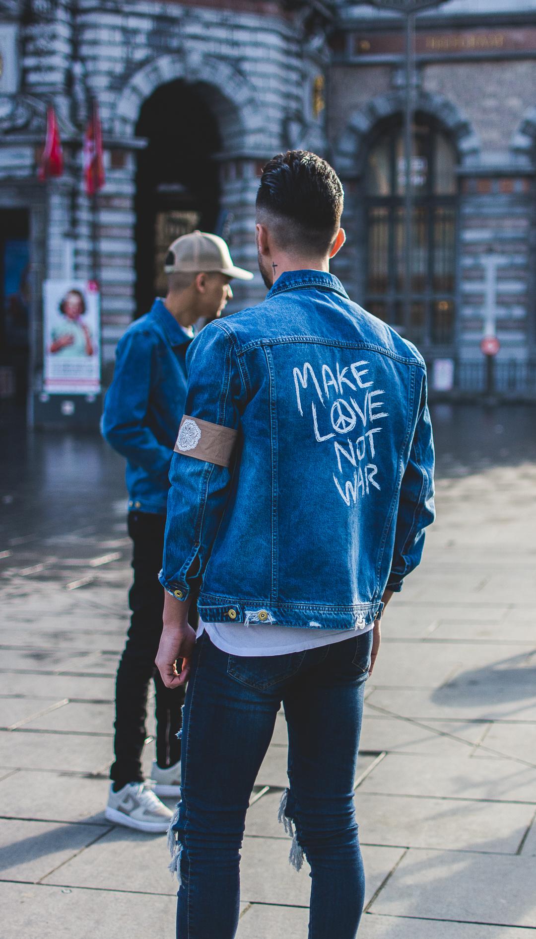 Men Make Love Not War Denim Jacket