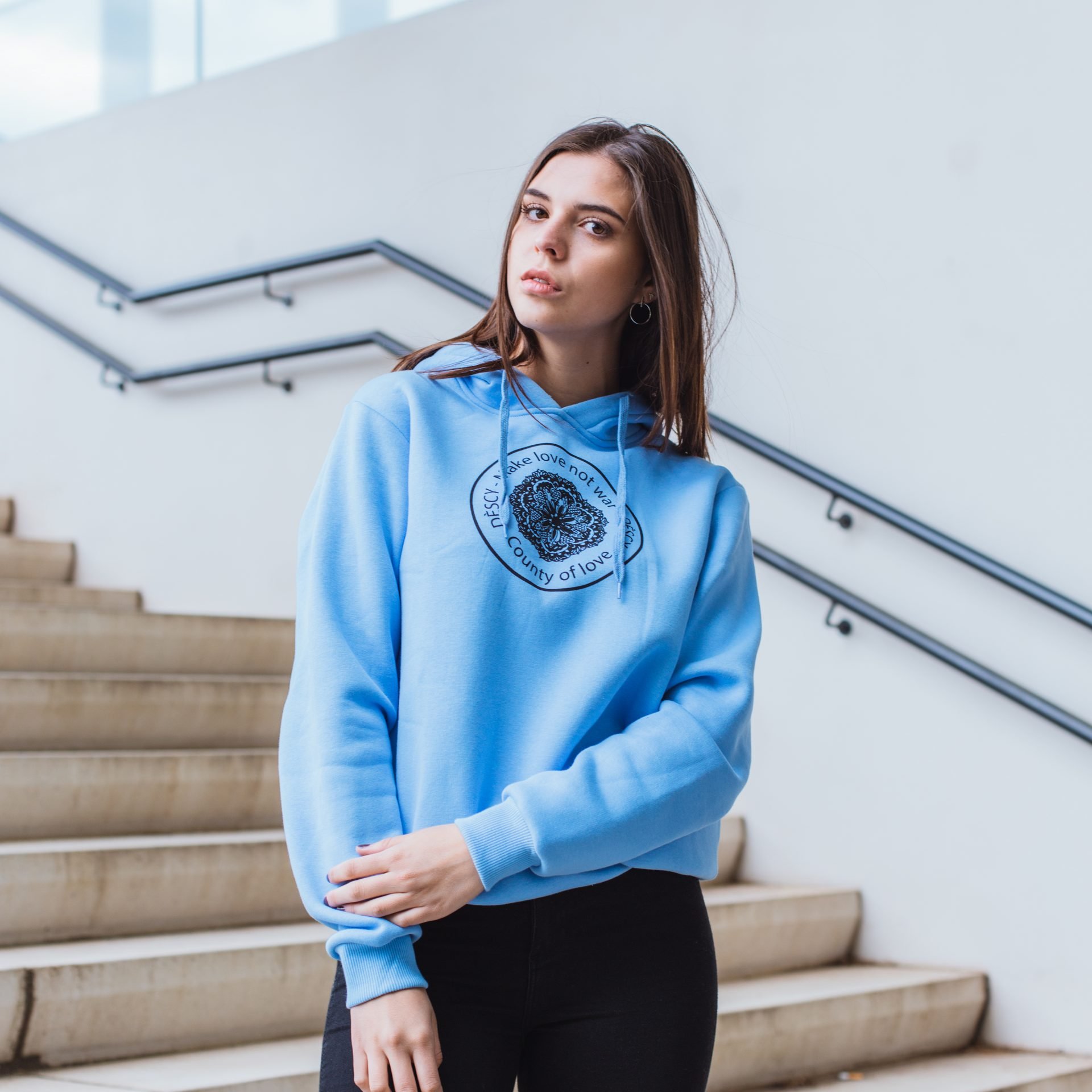 DESCY Flower Logo Hoodie Light Blue Unisex