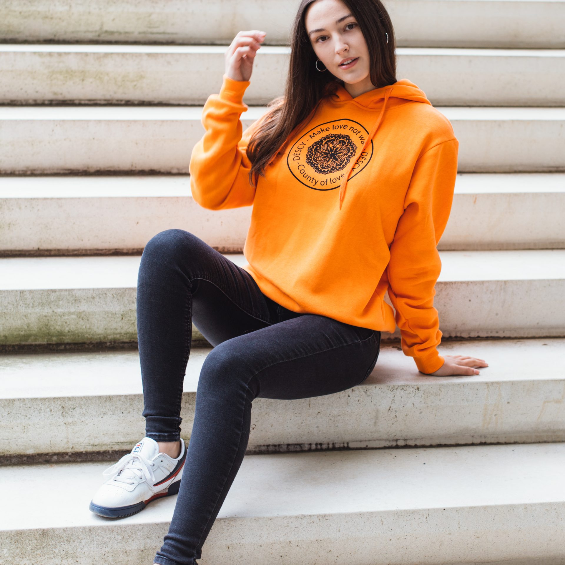 DESCY Flower Logo Hoodie Orange Unisex