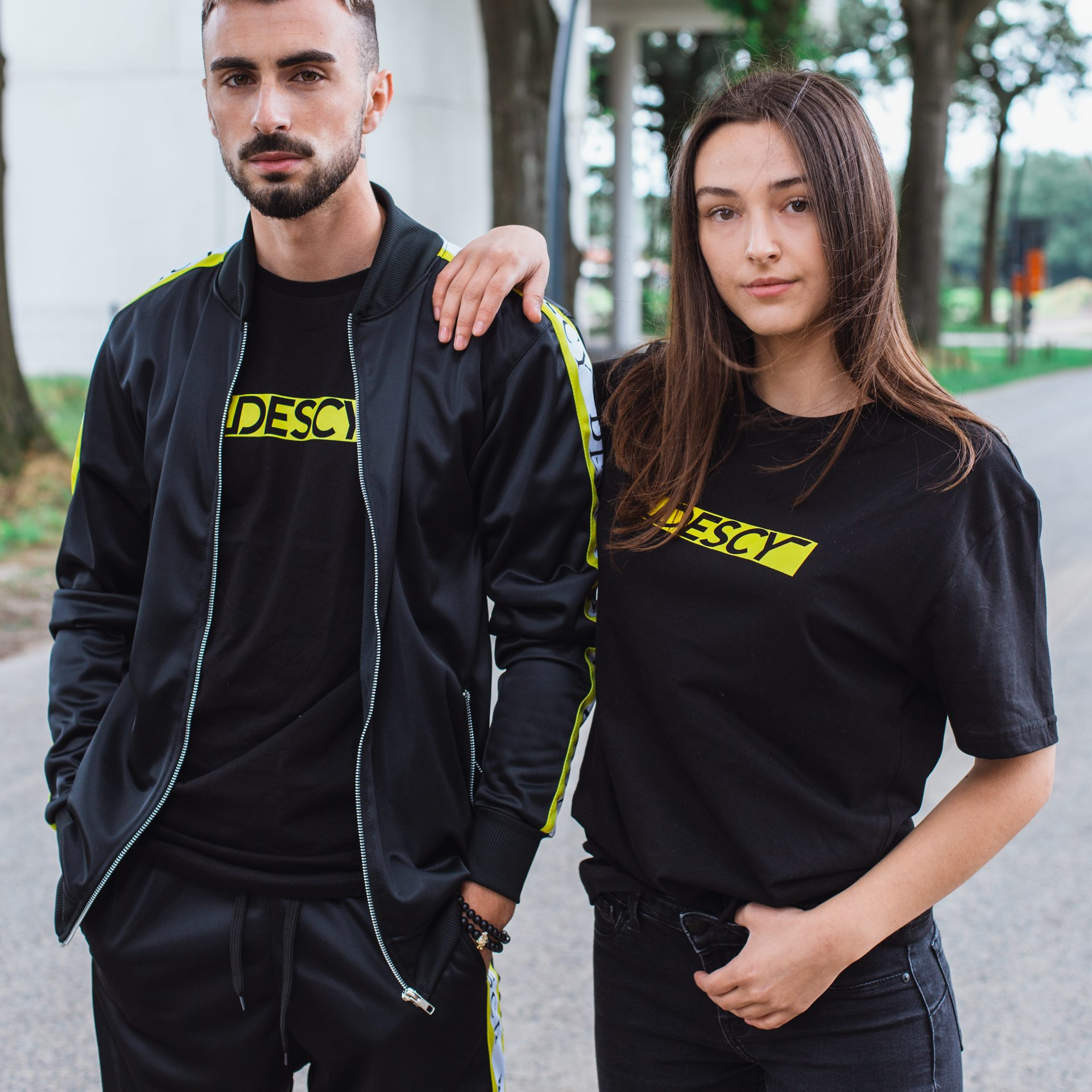 DESCY Yellow Box Logo Black T-shirt Unisex